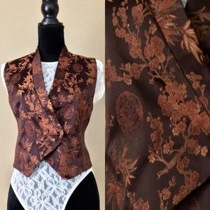Vintage Chinese Brocade Brown Cherry Blossoms Vest